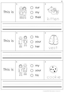 Building Sentences Set II - Possessive adjectives