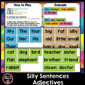 Building Sentences Silly Sentences - Adjectives