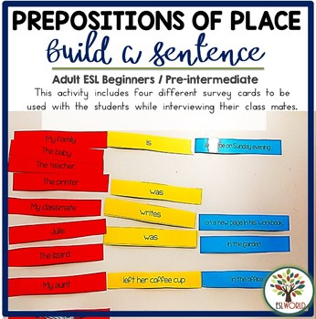 Building Sentences Word Cards Prepositions of Place - ESL Adults