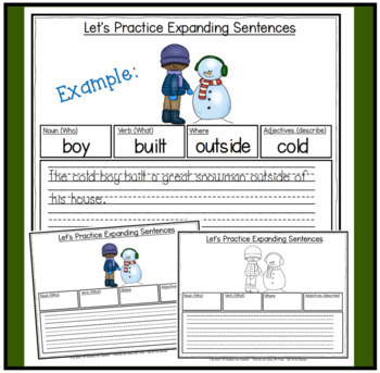 Expanding Sentences-Winter Edition (Using Adjectives, Nouns, Verbs, and Setting)