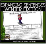 Expanding Sentences by Adding Adjectives Worksheets for Winter