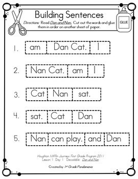 Building Sentences With 1st Grade Decodables Aligned with HMH Lessons 1-10