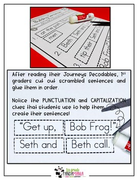 Journeys 1st Grade Building Sentences with Decodables for HMH Lessons 1-10
