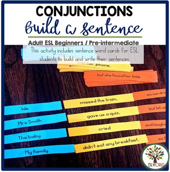Building Sentences Word Cards Conjunctions - ESL Adults