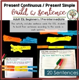 Building Sentences Word Cards Present Continuous Present S