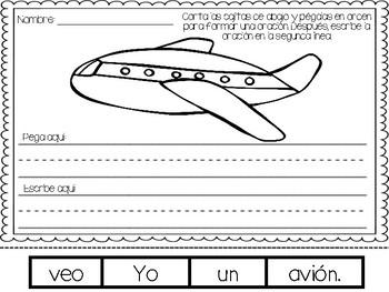 Building Sentences Worksheets in Spanish