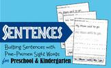 Building Sentences with Pre Primer Sight Words
