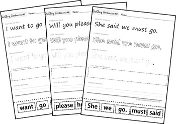Building Sentences with Primer Sight Words (Preschool, Kindergarten, 1st grade)