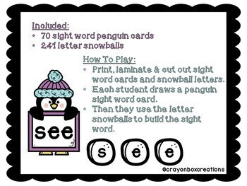 Building Sight Words - Snowball Style!