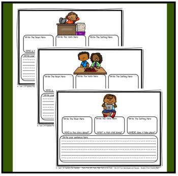 building sentences worksheets nouns verbs and setting by kelli c. Black Bedroom Furniture Sets. Home Design Ideas