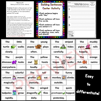 Building Simple Sentences Activities *Noun/Verb/Adjective/Adverb*
