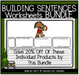 Building Sentences Worksheets BUNDLE - Nouns, Adjectives, Verbs & Setting