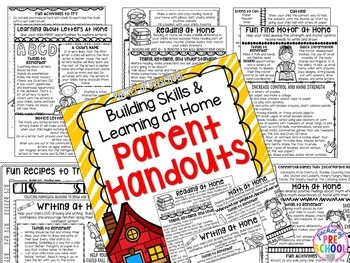 Parent Handouts for Preschool, Pre-K, and Kindergarten
