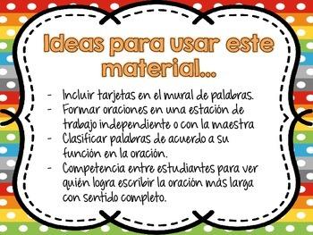 Building Spanish Sentences (Construyendo Oraciones)