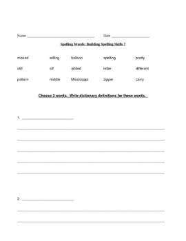 Building Spelling Skills Week 7 Supplementary
