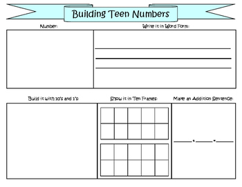 Building Teen Numbers Work Mat
