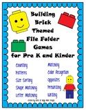 Building Toy File Folder Game Pack- 10 GAMES- LOW PREP