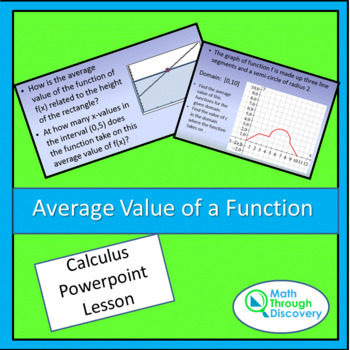 Calculus:  Average Value of a Function - Powerpoint