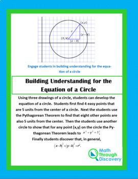 Geometry:  Building Understanding for the Equation of a Circle