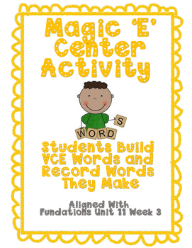 Building VCE Words Activity/Center