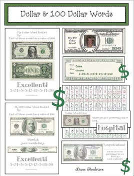 Building Vocabulary & Math Skills With Dollar & One Hundred Dollar Words