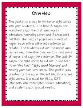 Building Vocabulary: Sight Words