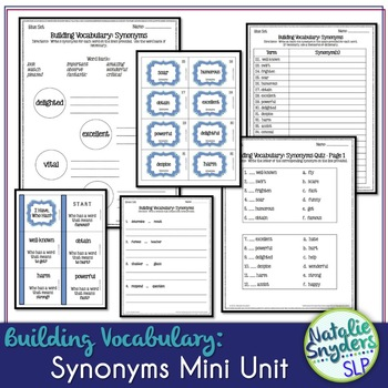 Building Vocabulary: Synonyms for Upper Elementary & Middle School