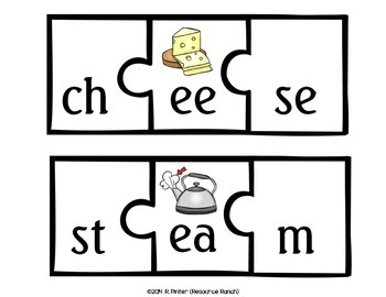 Long Vowels Center Vowel Teams Puzzles