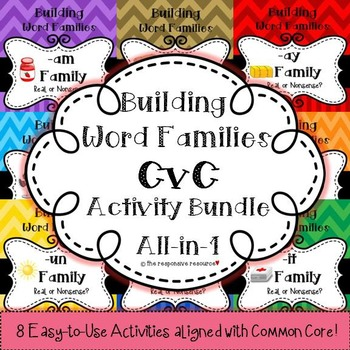 Building Word Families: Real or Nonsense? CvC BUNDLE!