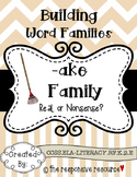 Building Word Families: Real or Nonsense? -ake Family