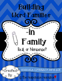 Building Word Families: Real or Nonsense? -in Family
