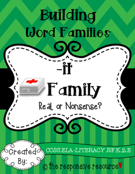 Building Word Families: Real or Nonsense? -it Family