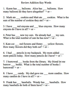 Building Word Problem Solving Skills- Addition and Subtraction
