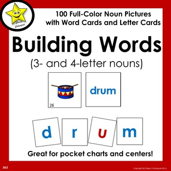 Building Words (3  and 4 letter nouns) by Classy Colleagues   TpT