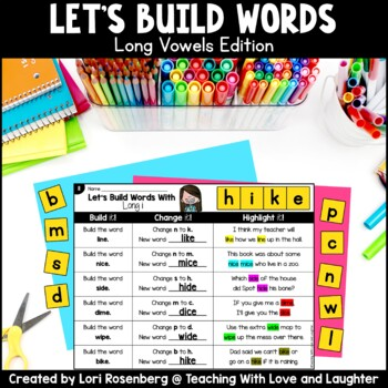 Building Words {Long Vowels Edition} Distance Learning Packet