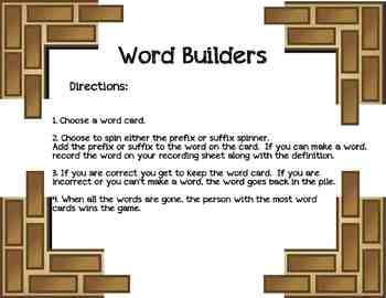 Building Words Prefix/Suffix Game