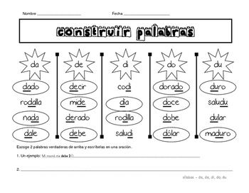 Building Words Spanish - Construir palabras