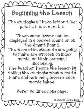 Building Words Spanish Kinder Edition Letters: e, s, a, l, i, í, r, ó