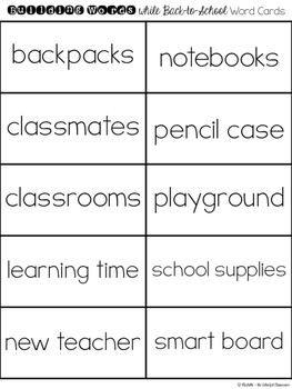 Building Words while Back to School