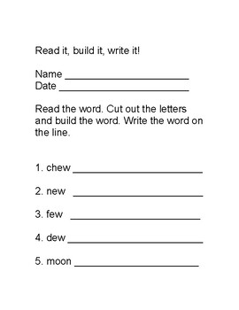 Building Words with -ew, -oo, -at, -et, -it, and -ot patterns