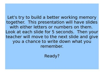 Building Working Memory