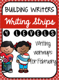 Building Writers: Differentiated Writing Warmup Strips (4 levels) {February}