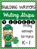 Building Writers: Differentiated Writing Warmup Strips {March} (4 levels)