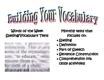 Building Your Vocabulary - Monthly Spelling & Vocabulary Tests
