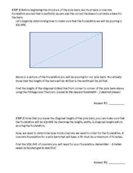 Building a Pole Barn Activity - Perimeter, Area, Cost