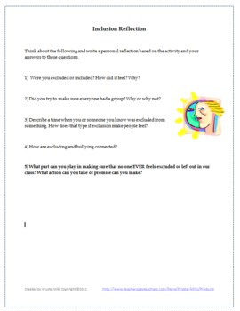 Building a Positive Classroom Climate: Inclusion Activity Grades 6-9