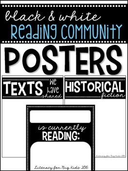 Building a Reading Community: Posters (BLACK & WHITE, EDITABLE)