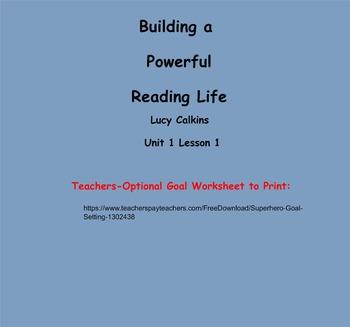 Reading Workshop Building a Reading Life Lucy Calkins Unit
