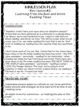Building a Reading Life Resources and Lessons