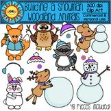 Building a Snowman - Woodland Animals Clip Art